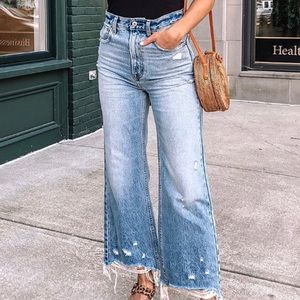 A&F Ultra High Rose Cropped Wide Leg Jeans